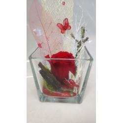 Rose éternelle rouge, cube...