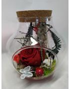 Rose éternelle dans bocal